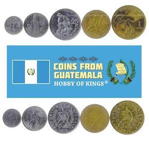 Set 5 Coins Guatemala 5 10 25 50 Centavos 1 Quetzal 1974 - 2018