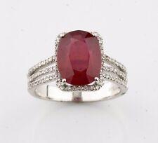 14k oro bianco AUREOLA incastonatura A Pavé Tre FASCIA Diamante & Rubino anello