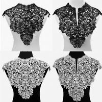 Embroidered Venise Neckline Floral Lace High Neck Collar Trim Sewing Applique