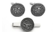 Templar Seal Pewter Cufflinks and Tie Clip Set Masonic Gift Boxed 366