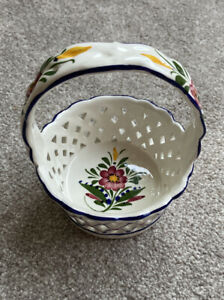 Vintage Hand Made & Painted in Portugal Blue Weaved Ceramic Small Basket Rccl