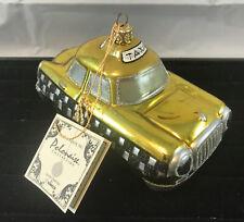 Vintage Kurt Adler Polonaise Taxi Cab Yellow & Black Car Ornament W/Tag
