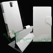 Custodia simil pelle FLIP LINGUETTA cover STAND Bianca per OnePlus One