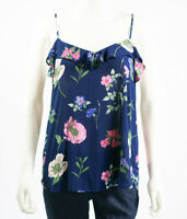 Old Navy Womens Shirt Blue Pink Size M Floral Print Ruffle Classic Feminine