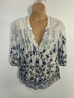 WOMENS RPER UNA M&S SIZE UK 14 WHITE BLUE FLORAL CASUAL SUMMER BLOUSE SHIRT TOP