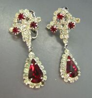 KRAMER Vintage CLIP ON EARRINGS Silver Tone DARK RUBY RED & CLEAR RHINESTONES