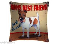 "JACK RUSSELL MAN'S BEST FRIEND DOG BREEDS FAUX SUEDE 18"" CUSHION"