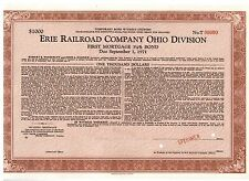 Specimen: Erie Railroad Company Ohio Division 1000 $Bond