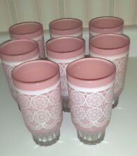 VINTAGE PINK DRINKING GLASSES SET OF 8 CHANTILLY LACE UNUSUAL RARE