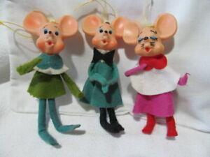 "Vintage Japan Christmas Felt Bendable Elf Mice Mouse Ornaments  ""LOT"" of 3"