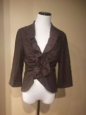 Tabitha Anthropologie Brown Ruffle Short & Sweet Jacket Blazer Wool Blend Size 8
