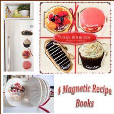 4 Magnetic Cake Recipe Fridge Books Stick Pastries Cupcakes Tarts Bake Handy Set