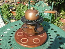 LOVELY ANTIQUE COPPER FONDUE SET WITH STAND AND SPINNING PLATE