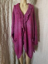 Barbara Speer fuchsia mohair wool mix knitted asymmetric coat one size, pits 74""