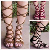 Summer Women Knee High Lace Up Leg Wrap Roman Gladiator Flat Sandals Shoes SH