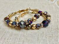 Vintage Carol Dauplaise Earrings 1970's Gold Tone Hoops Beaded Purple Gold Post