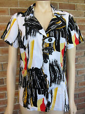 Funky Cordelia Collection Cotton Button Down Abstract Blouse ~ Size 16