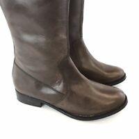 Rocha John Rocha 38 UK5 Brown Leather Knee High Zip Up Block Heels Riding Boots