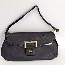 d131dee255 New Liz Claiborne Black Faux Leather Wristlet Clutch Purse Bag Convertible  Strap