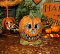 Primitive Antique Style LED Halloween Scary Wood Jack-O-Lantern Creepy Pumpkin