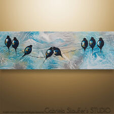 "GS Abstract Painting Home Decor Wall Art Birds On A Wire Palette Knife 36""x12"""