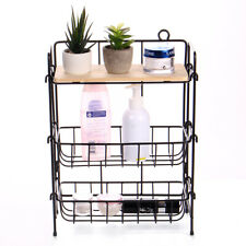 3 Tier Rect Shelf Storage Rack Bathroom Kitchen Organizer Condiment Holder Steel