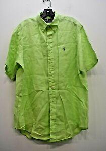 Ralph Lauren Men Green Solid Short Sleeve Button-Down Classic Fit Dress Shirts L