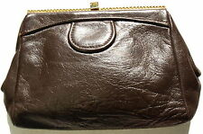 Pocket Purse Cosmetics Leather Makeup Bag Jewelry Vintage Brown Gold