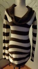 Next Era Couture Brown Cream Striped Cowl Long Casual Fitted Sweater Sz L