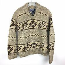 Polo Sport Sportswoman Pullover Sweater Aztec Large Brown Shawl Collar