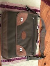 American Work Products Green CanVas Suede Lap Top Brief Case With Shoulder Strap