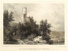 NECKARSTEINACH - BURGRUINE SCHWALBENNEST / SCHADECK - Poppel - Stahlstich 1849