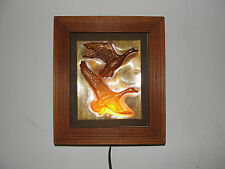 Wood framed geese in flight wall night light, electric, old