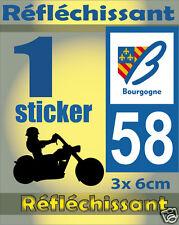 1 Sticker REFLECHISSANT département 58 rétro-réfléchissant immatriculation MOTO
