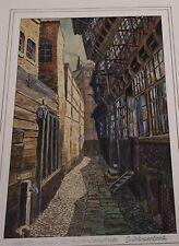 Alt-Hamburg: Hof an der Steinstraße (Altstadt). Farbige Original-Zeichnung um 19