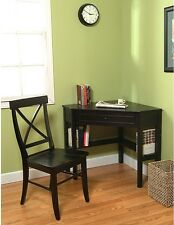 Simple Living Black Corner Desk And Crossback Chair 2-piece Study Set