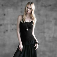 T296 Punk Rave Visual Kera Gothic Stretch Backless Camisole Vest T-shirt TOP