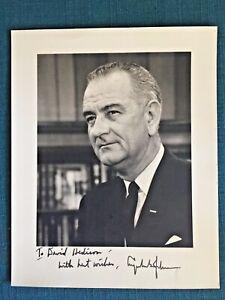 "President Lyndon B Johnson BW 8"" x 10""  Autographed Photo to David Hedison Actor"