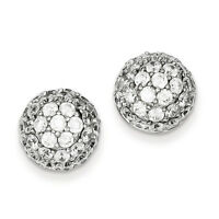 925 Sterling Silver Open Back Polished Pave CZ Ball Post Earrings