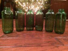 6 Vintage Green Glass Water Graduated Juice Jars 40 Oz