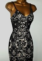 Black Nude Lace Bodycon Wiggle Evening Party Wedding Occasion Midi Dress rrp £75