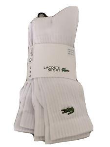 LACOSTE Mens White 3 Pack Sports Socks Size 7.5-11