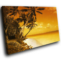 SC069 Retro Brown Yellow Beach Funky Nature Canvas Wall Art Large Picture Prints