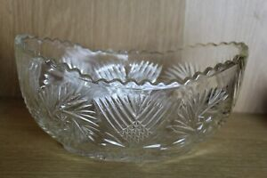 Large vintage Scottish crystal cut glass oval deep bowl