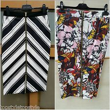 ASOS BY RIVER ISLAND CHEVRON AND FLORAL ZIP FRONT PENCIL MIDI SKIRT