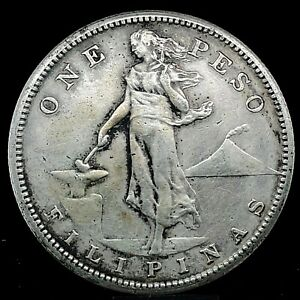 1908-S Silver One Peso Philippines, United States Administration KM #172 Coin #2