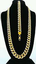 MENS 15mm BLACK   GOLD STAINLESS STEEL MIAMI CUBAN  CHAIN NECKLACE BRACELET SET