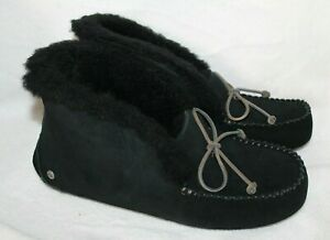 NWT UGG WOMEN'S ALENA MOCCASIN SLIPPERS BLACK 6 7 8 9 10