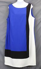Ralph Lauren Colorblock Sheath Dress Stretch Knit Lightweight Ponte 16W NWT