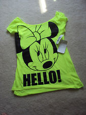 Disney Size S/CH 3/5 T-Shirt Minnie Mouse Flourescent Green NWT